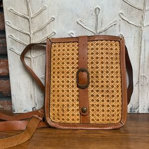 Patricia Nash leather rattan front cross body